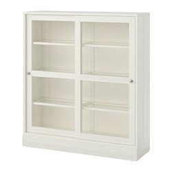 Havsta Gl Door Cabinet With Base White Clear