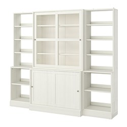 HAVSTA storage comb w sliding glass doors, white