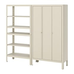 KOLBJÖRN shelving unit with cabinet, beige