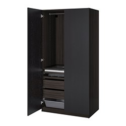 PAX wardrobe, black-brown, Forsand black-brown stained ash effect