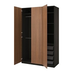 PAX wardrobe, black-brown, Forsand brown stained ash effect