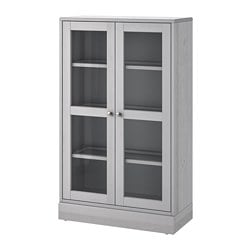 HAVSTA glass-door cabinet with base, gray, clear glass