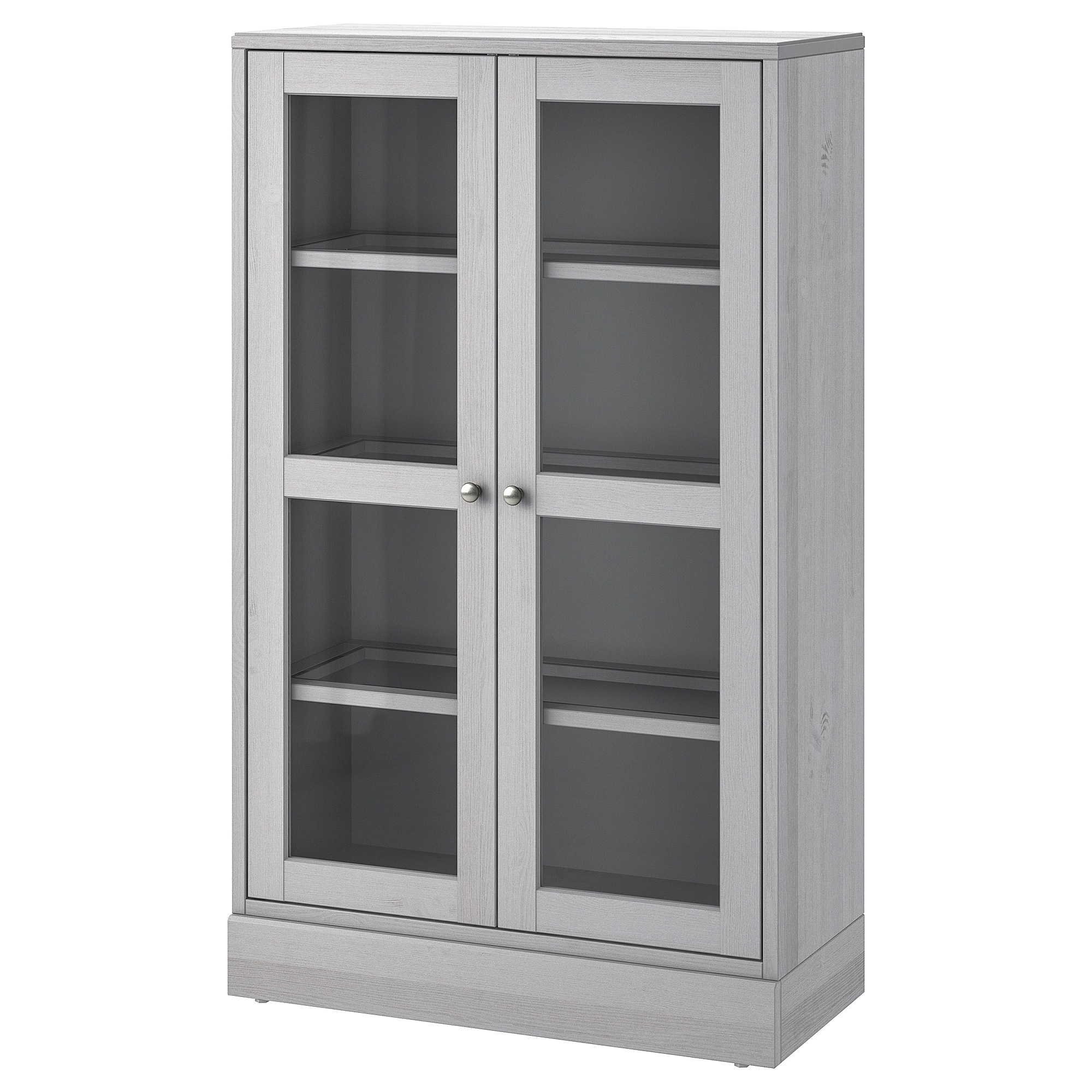 Havsta Glass Door Cabinet With Plinth Grey Clear Glass Ikea