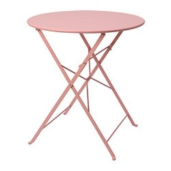 SALTHOLMEN table, outdoor, foldable, pink