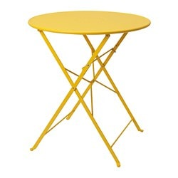 SALTHOLMEN table, outdoor, foldable, yellow