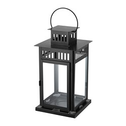 BORRBY lantern for block candle, black indoor/outdoor black