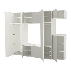 PLATSA wardrobe, white, Skatval light grey