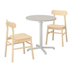 STENSELE /  RÖNNINGE table and 2 chairs, light gray, light gray birch
