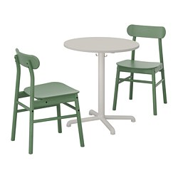 STENSELE /  RÖNNINGE table and 2 chairs, light gray light gray, green