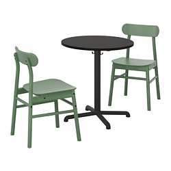 STENSELE /  RÖNNINGE table and 2 chairs, anthracite anthracite, green