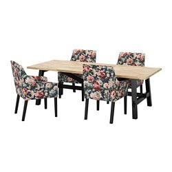 SKOGSTA /  SAKARIAS table and 4 chairs, acacia black, Lingbo multicolor 1