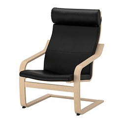 POÄNG armchair, white stained oak veneer, Smidig black