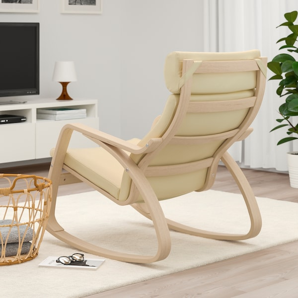 Dondolo Ikea Poang.Rocking Chair Poang White Stained Oak Veneer Glose Eggshell