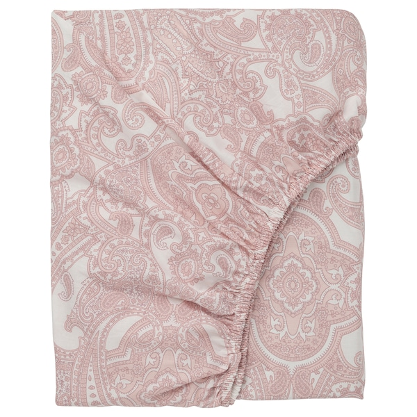 Funda Nordica Ikea 90.Jattevallmo Fitted Sheet White Pink Ikea