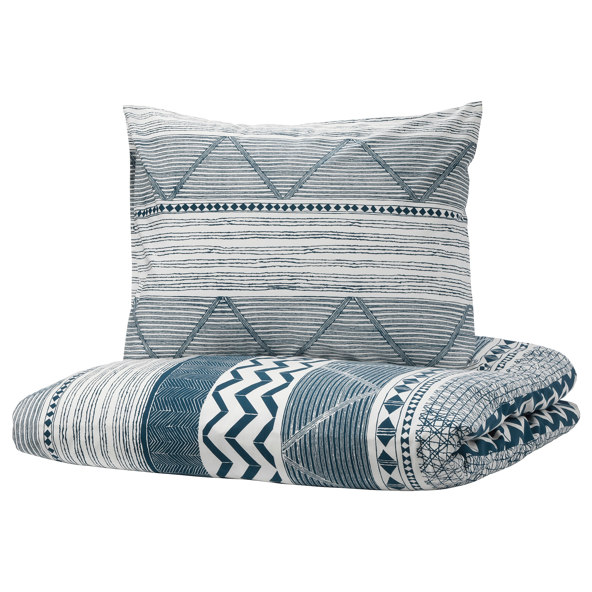 PROVINSROS Quilt cover and pillowcase white blue