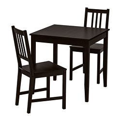 LERHAMN /  STEFAN table and 2 chairs, black-brown, brown-black