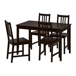 LERHAMN /  STEFAN table and 4 chairs, black-brown, brown-black