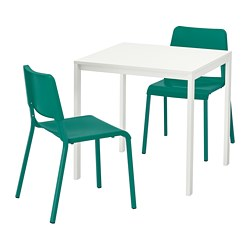MELLTORP /  TEODORES table and 2 chairs, white, green