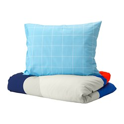 MÖJLIGHET quilt cover and pillowcase, blue, graphical patterned