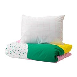 MÖJLIGHET quilt cover and pillowcase, pink, graphical patterned