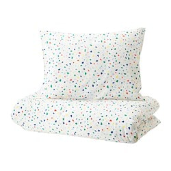 MÖJLIGHET duvet cover and pillowcase(s), white, mosaic patterned