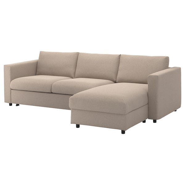 3-seat sofa-bed VIMLE with chaise longue, Tallmyra beige