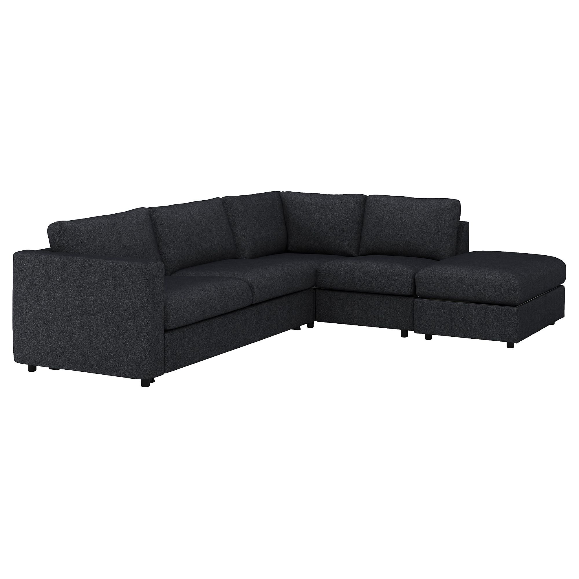 Corner sofa-bed, 4-seat VIMLE with open end, Tallmyra black/grey
