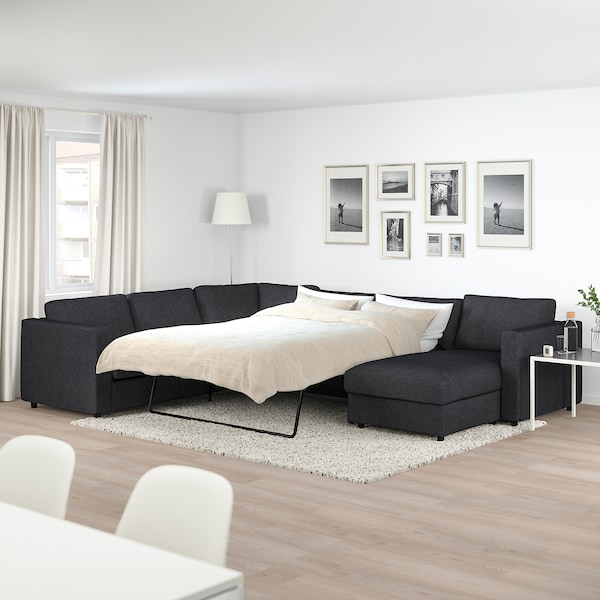 Corner Sofa Bed 5 Seat Vimle With Chaise Longue Tallmyra Black Grey
