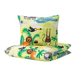 DJUNGELSKOG duvet cover and pillowcase(s), animal, green