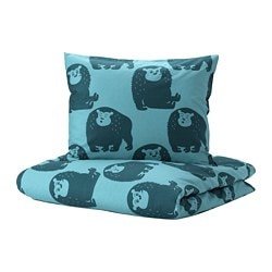 DJUNGELSKOG duvet cover and pillowcase(s), monkey, blue