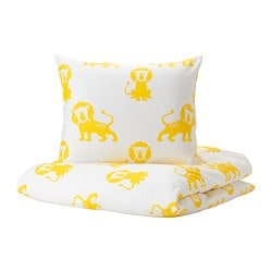 DJUNGELSKOG quilt cover and pillowcase, lion, yellow