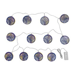 SOLGLIMTAR LED lighting chain with 12 lights, battery-operated blue