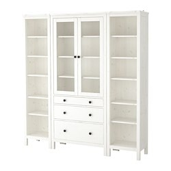 HEMNES storage combination w doors/drawers, white stained, clear glass