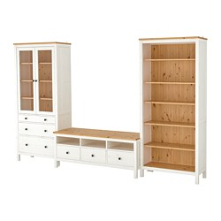 HEMNES TV storage combination, white stain, light brown clear glass