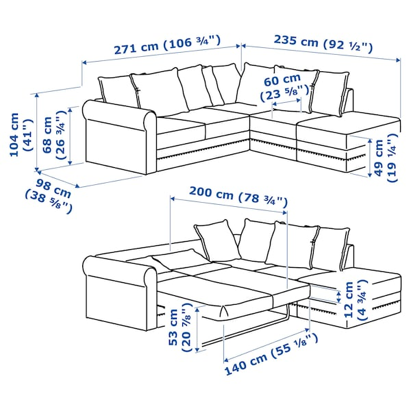 Miraculous Corner Sofa Bed 4 Seat Gronlid With Open End Sporda Dark Grey Pdpeps Interior Chair Design Pdpepsorg