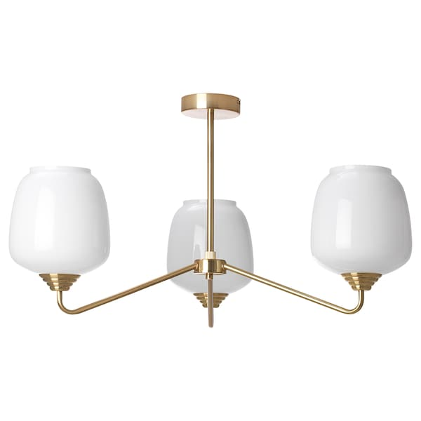 197 Tersken Ceiling Lamp With 3 Lamps Opal White Glass Ikea
