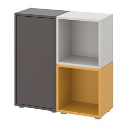 EKET storage combination with feet, dark gray, light gray golden brown