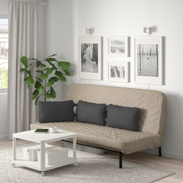 Marvelous Sofa Bed With Triple Cushion Nyhamn With Foam Mattress Hyllie Beige Bralicious Painted Fabric Chair Ideas Braliciousco