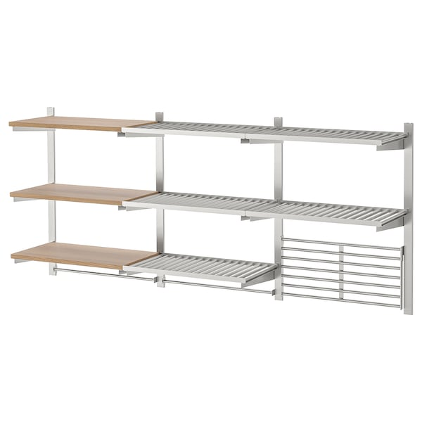 Susp Rail Shelf Wall Grid Kungsfors Stainless Steel Ash Veneer