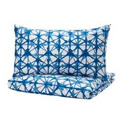 STJÄRNFLOCKA quilt cover and pillowcase, white, blue
