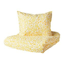 JUVELBLOMMA quilt cover and 2 pillowcases, white, yellow
