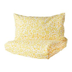 JUVELBLOMMA quilt cover and pillowcase, white, yellow
