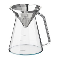 HÖGMODIG coffee maker for drip coffee, clear glass, stainless steel