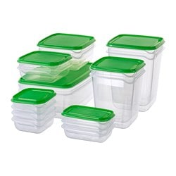 Pruta Food Container Set Of 17 Clear Green