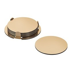 GLATTIS coasters with holder, brass-colour