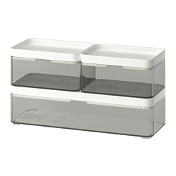 BROGRUND box, set of 3, transparent gray, white
