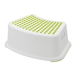 FÖRSIKTIG children's stool, white, green