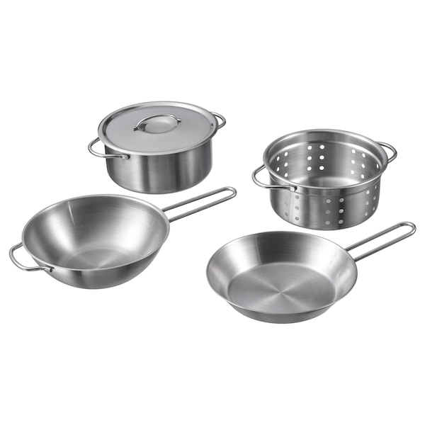 Duktig 5 Piece Toy Cookware Set Stainless Steel Color