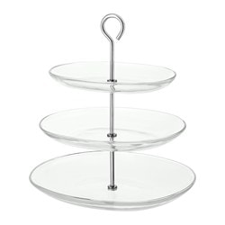 KVITTERA serving stand, three tiers, clear glass, stainless steel