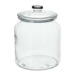 VARDAGEN jar with lid, clear glass